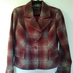 Tribal plaid embroidered button up jacket wool ble